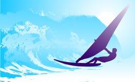 Abstrakcjonistyczna sylwetka surfingowiec przy oceanem ilustracji