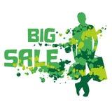 Abstrakcjonistyczna sylwetka zakupy mężczyzna z tekst Dużą sprzedażą zdjęcie stock