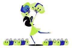 Abstrakcjonistyczna Szczęśliwa piękna młoda kobieta w sukni z torba na zakupy ilustracji