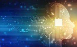 Abstrakcjonistyczna sztuczna inteligencja Kreatywnie Móżdżkowy pojęcie, pojęcie główkowanie, Wirtualny pojęcie, futurystyczny abs zdjęcia royalty free