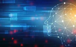 Abstrakcjonistyczna sztuczna inteligencja Technologii sieci tło Ludzkiej głowy kontur z Binarnymi kodami obrazy stock