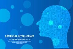Abstrakcjonistyczna sztuczna inteligencja Technologii sieci t?o, Wirtualny poj?cie, futurystyczny abstrakcjonistyczny t?o royalty ilustracja