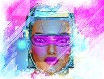 Abstrakcjonistyczna sztuka, robot dziewczyna Zdjęcia Royalty Free
