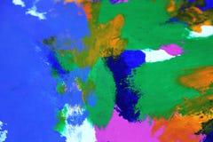 Abstrakcjonistyczna sztuka w żółtej błękitnej zieleni i purpurach Zdjęcia Royalty Free