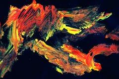 Abstrakcjonistyczna sztuka w żółtej pomarańcze i czerni Obraz Royalty Free