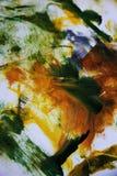 Abstrakcjonistyczna sztuka w żółtej pomarańcze i zieleni Obraz Royalty Free
