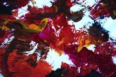 Abstrakcjonistyczna sztuka w żółtych pomarańczowej czerwieni błękita purpurach Fotografia Royalty Free