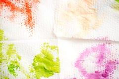 abstrakcjonistyczna tła ręka malująca akwarela Zielona plama farba na białej pielusze obraz royalty free