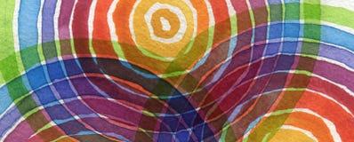 Abstrakcjonistyczna tęcza akrylowa i akwarela okrąg malowaliśmy backgroun Obraz Stock