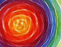 Abstrakcjonistyczna tęcza akrylowa i akwarela okrąg malowaliśmy backgroun Fotografia Stock