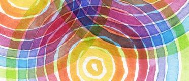 Abstrakcjonistyczna tęcza akrylowa i akwarela okrąg malowaliśmy backgroun Obrazy Stock