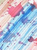 abstrakcjonistyczna tła błękitny czerwieni pluśnięcia akwarela Obrazy Stock