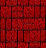 Abstrakcjonistyczna tło płytka z plac czerwony linii wzorami na czerni Obraz Stock