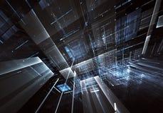 Abstrakcjonistyczna technologii 3D ilustracja Wzór, ulotka, sztandar, graficzny projekt Fotografia Stock