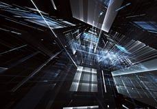 Abstrakcjonistyczna technologii 3D ilustracja Wzór, ulotka, sztandar, graficzny projekt Zdjęcie Stock