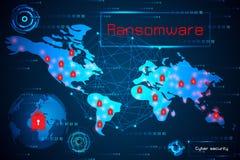 Abstrakcjonistyczna technologii pojęcia cyber ochrona z ransomware ostrzeżeniem obraz stock