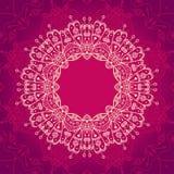 Abstrakcjonistyczna wektorowa ornamentacyjna round mandala rama na różowym backg Obrazy Stock