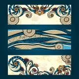 Abstrakcjonistyczna wektorowa ręka rysujący etniczny deseniowej karty set Obraz Royalty Free