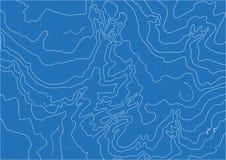 Abstrakcjonistyczna wektorowa topograficzna mapa w błękitnych kolorach obrazy stock