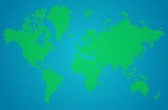 Abstrakcjonistyczna Światowa mapa zielone round kropki Obrazy Stock
