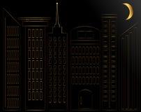 Abstrakcjonistyczna Złota sylwetka miasto przy nocą royalty ilustracja