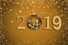 Abstrakcjonistyczna złota Xmas piłka z rokiem 2019 przeciw gwiazdom, śnieg i ilustracja wektor