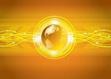 Abstrakcjonistyczna złocista globalna ziemska technologia Zdjęcie Stock