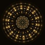Abstrakcjonistyczna złocista round rama z mandala Zdjęcie Royalty Free
