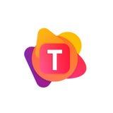 Abstrakcjonistyczna zabawa kształta elementów firmy loga znaka ikona T listu bela Zdjęcia Stock