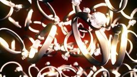 Abstrakcjonistyczne CGI ruchu grafika z złotymi pierścionkami royalty ilustracja