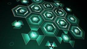 Abstrakcjonistyczne Cyfrowego sześciokąta ikony Rysuje na pokazie z DOF plamą Technologii Cyfrowej 3d animacja 4K Ultra HD 3840x2 zbiory