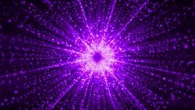 Abstrakcjonistyczne cząsteczki zbiera w centrum wirtualna przestrzeń Jaskrawy lekki tunel cząsteczki zapętlający ilustracja wektor