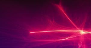 Abstrakcjonistyczne Czerwone Żółtych linii krzywy I cząsteczki Na Ciemnym tle ilustracji