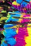 Abstrakcjonistyczne farb smugi, oceny na Czarnym tle i Zdjęcie Stock