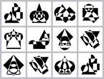 Abstrakcjonistyczne futurystyczne geometryczne postacie, kształty symetria i asymetria, Set czarny i biały deseniowi tła royalty ilustracja