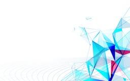 Abstrakcjonistyczne futurystyczne molekuły z podłączeniowym technologii pojęcia tłem ilustracji