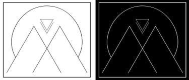 Abstrakcjonistyczne góry i słońce od linii geometrii minimalistic loga ilustracja wektor