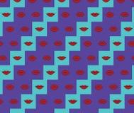 Abstrakcjonistyczne jaskrawe kolorowe wargi ustawiający wzór ilustracji