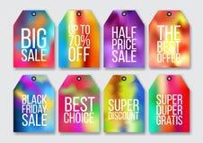 Abstrakcjonistyczne kolorowe holograficzne skutek sprzedaży etykietki ustawiać ilustracji