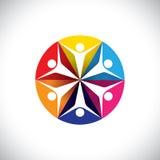 Abstrakcjonistyczne kolorowe ikony dzieci lub dzieciaki szczęśliwi  ilustracja wektor