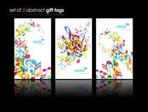 abstrakcjonistyczne kolorowe muzyczne ustalone etykietki ilustracja wektor