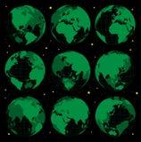 Abstrakcjonistyczne kuli ziemskiej ziemi ikony ustawiać Zdjęcie Royalty Free