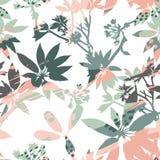 Abstrakcjonistyczne kwieciste bezszwowe deseniowe sylwetki liście i artystyczny tło Obraz Stock