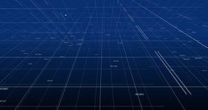 Abstrakcjonistyczne liczby, linie, punkty na błękitnym gradientowym tle, technologia i pieniężna mapy gospodarka, ilustracji