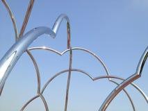 Abstrakcjonistyczne metal drymby na gradientowym błękitnym tle Zdjęcia Royalty Free