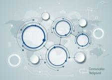 Abstrakcjonistyczne molekuły i globalna ogólnospołeczna medialna technologia komunikacyjna ilustracja wektor