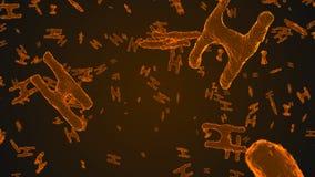 Abstrakcjonistyczne pomarańczowe wirusowe komórki pod mikroskopem Fotografia Royalty Free