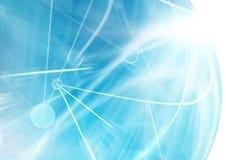 Abstrakcjonistyczne rozjarzone niebieskie linie w perspektywie Obraz Royalty Free