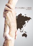 Abstrakcjonistyczne Trójgraniaste chwyt ręki, pomoc znak Zdjęcia Stock