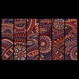 Abstrakcjonistyczne wektorowe etniczne deseniowe karty ustawiać Fotografia Royalty Free